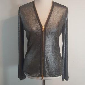 Tom Ford Silver-Gunmetal Shirt Zip up front NWOT